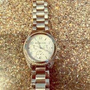 MK silver tone watch